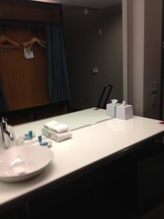 Aloft Jacksonville Airport: plenty of counter space. water splashes out of sink area though