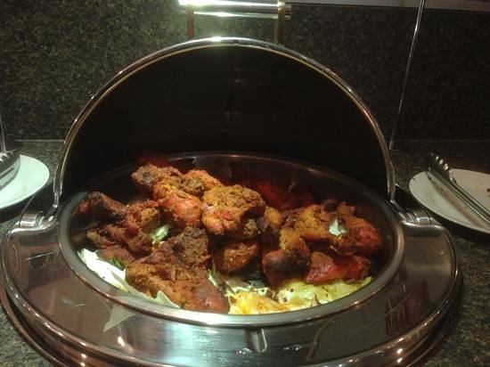 Taj Grill & Bar:                   tandoori chicken on the buffet