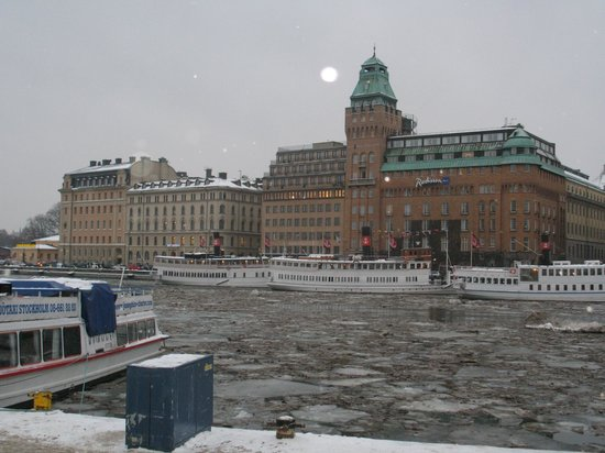Radisson Collection Strand Hotel, Stockholm:                   View from the other side of the harbor, January.  Brrrr!