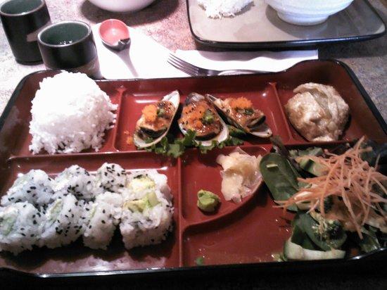 Hana Sushi:                                     bento box, rice, salad, california rolls, and SPECIAL Mussel