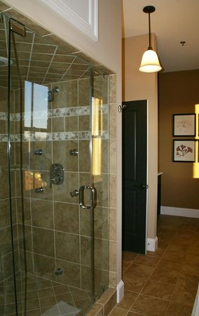 Suites at 249: Steam shower with spray jets and rain shower head
