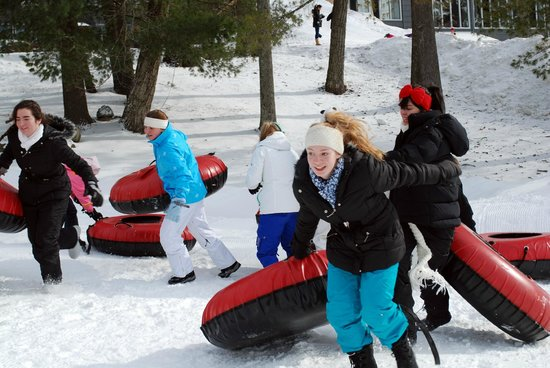 Woodloch Pines Resort:                   Olympic Game event - Make a pyramid out of snow tube relay race.  Gold, Silver