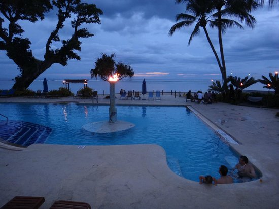 Fiji Hideaway Resort & Spa:                   Pool area at night