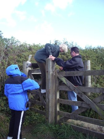 climbing farmer's fence to view Merry Maidens