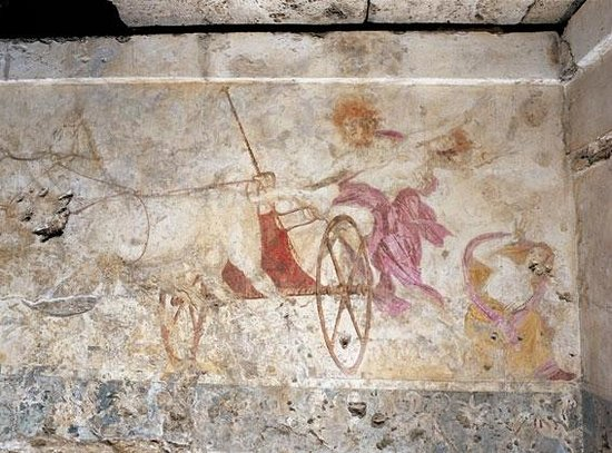 Vergina, Grèce : The abduction of Persephoni - Fresco inside the plundered tomb