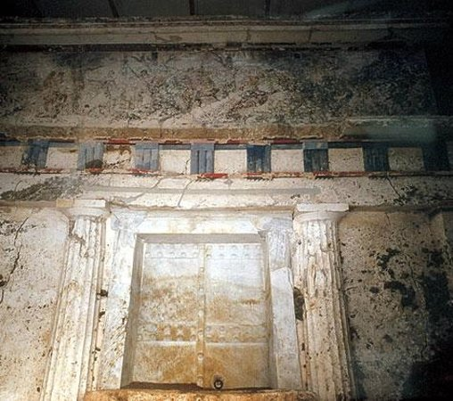 Vergina, Greece: The facade of the tomb of Phillip II - The hunting scene