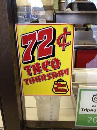 Taco Bravo: $0.72 tacos