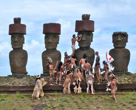 Anakena Beach:                   During ceremonies commemorating the arrival of humans to Easter Island