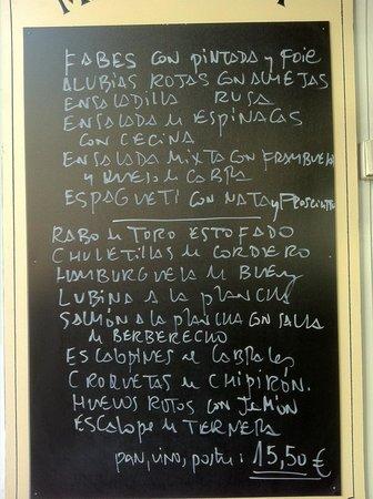 Restaurante Badila :                                     El Menú de fin de semana