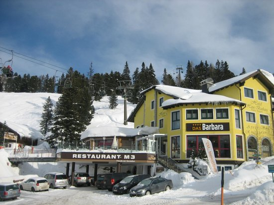 Hotel Barbara:                                     Hotel view from the ski starting point