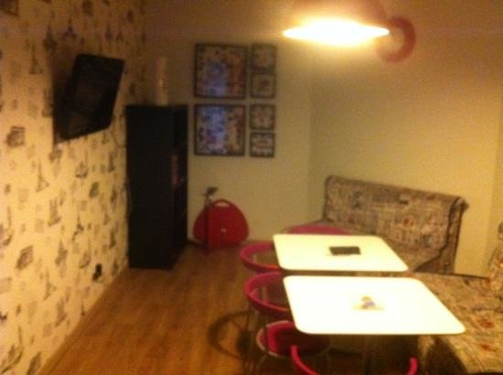 Underground Hostel:                   Living room (kitchen to left)