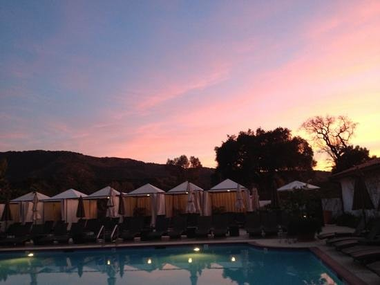 Ojai Valley Inn & Spa:                   sunset by the pool