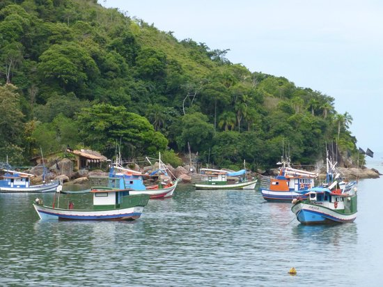 Pousada Picinguaba: The bay and the array of wee boats.