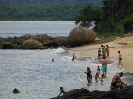 Pousada Picinguaba: The local village beach 10 minutes walk away and the 3km long empty beach in the distance.