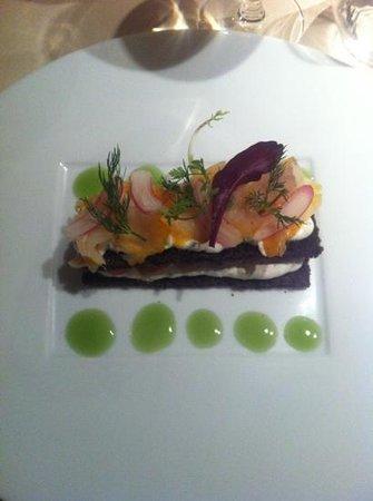 L'Auberge:                   club sandwich de haddock crème ciboulette