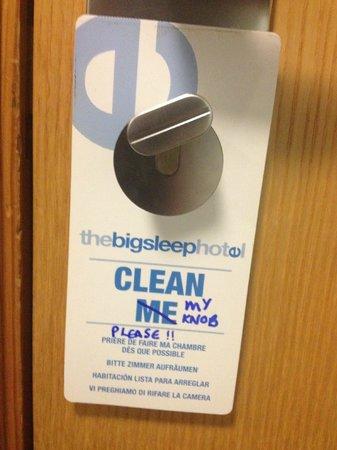 The Big Sleep Hotel Cardiff by Compass Hospitality: Door sign