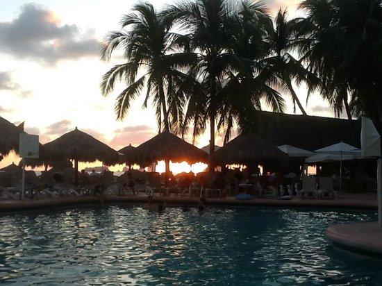 Sunscape Dorado Pacifico Ixtapa :                   View across the pool at sunset