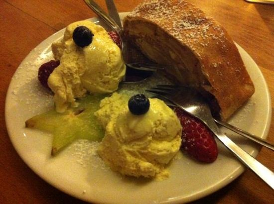 Cafe Chaos:                                     Apfelstrudel with vanilla ice creme