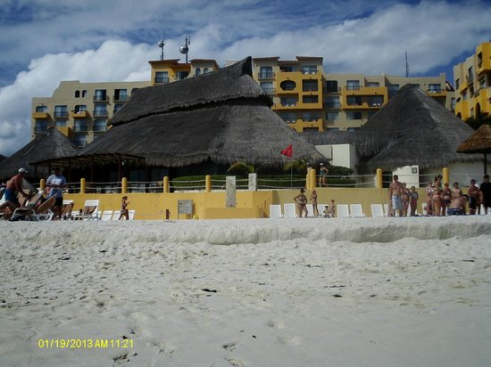 Fiesta Americana Condesa Cancun All Inclusive:                   View of hotel (main tower) from beach