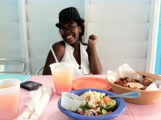 da Conch Shack: She's waiting to dig in...