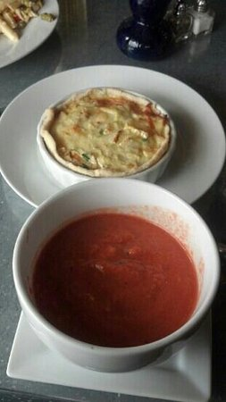 Crady's Eclectic Cuisine on Main:                   Crab and Brie Quiche with Tuscan Tomato Soup
