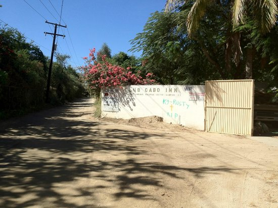 """Club Cabo Inn:                   Entrance of the """"campground"""" and dirt road"""