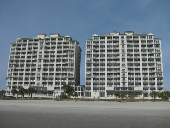 Hampton Inn & Suites Myrtle Beach/Oceanfront:                                     View from beach