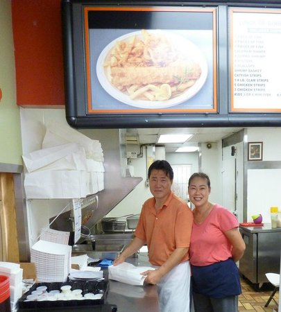 Chef John's Fish & Chips :                                     Chef John (Jong Eum Bae) and his wife Me Sook