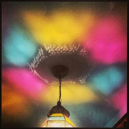 Arabesque Bazaar and Bistro:                   beautiful light above our table :)