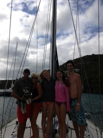 St. John Yacht Charters Survivan:                   Celebrating a successful sail with a great crew!