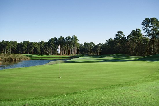 Hilton Head National: A view from the green on our signature hole, the par 4 sixth.