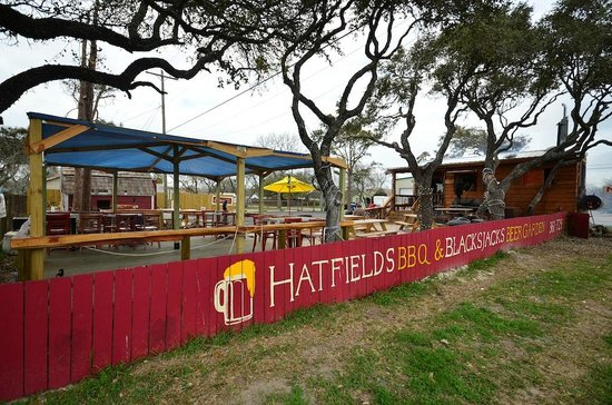 Blackjack's BBQ Beer Garden:                                                       Easy to find and nice to sit at