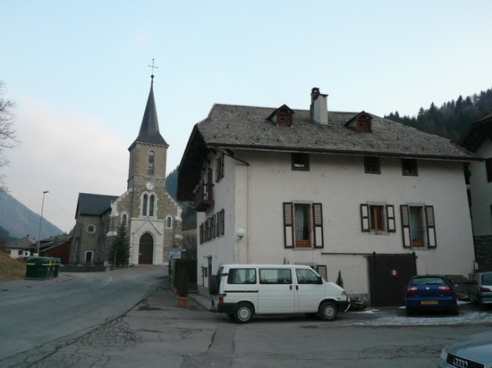 La Vieille Ferme de la Moussiere:                   Outside the chalet with the church in the background