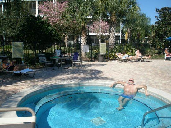 Bahama Bay Resort Orlando by Wyndham Vacation Rentals:                   view of the hot tub behind building 38