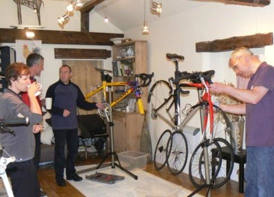 Greystoke Cycle Cafe Tea Garden: Strip and Build Bike Days a Quirky Workshop at Greystoke Cycle Cafe, northern Lakes