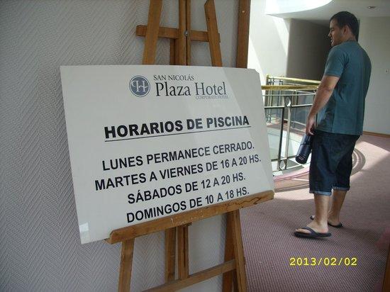 San Nicolas Plaza Hotel: Horarios