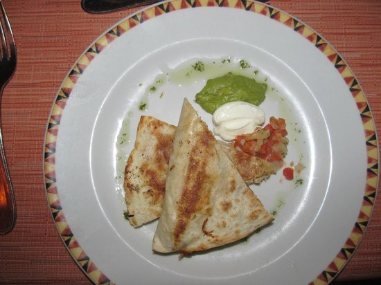 Secrets St James: chicken quesadilla appetizer at el patio restaurant
