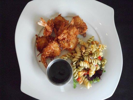 Looking Glass Restaurant: Coconut Shrimp w/bourbon sause & Rotini Salad