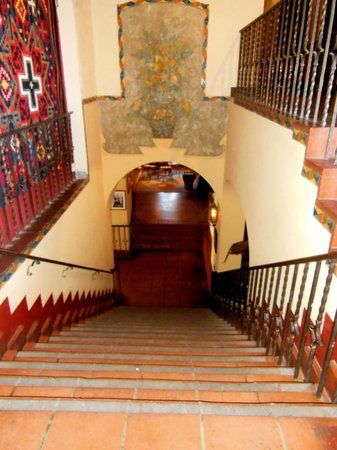 La Posada Hotel: One of the few frescoes left above stairs