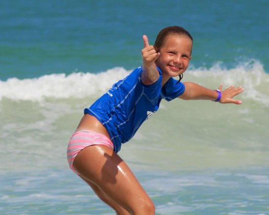 Macao Surf Camp:                   Yep, and they taught her proper surfer wave etiquette!