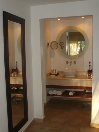 Dreams Palm Beach Punta Cana:                   Bathroom area, shower to the left