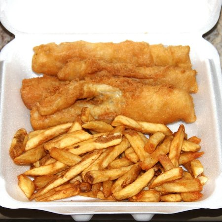 Shakers Golden Fish & Chips:                                                       Alaskan White fish..
