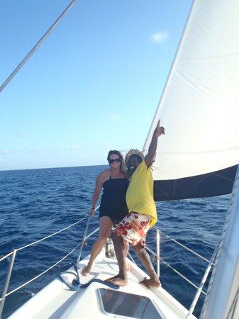 Roatan Sailing with Captain Alex:                                     me & the captain