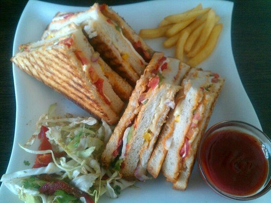 Nibs Cafe & Chocolataria:                   Devil's grilled sandwich.. This is huge..... :D