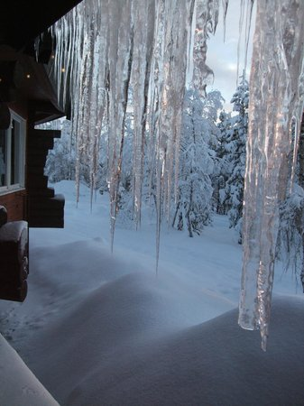 Davvi Arctic Lodge:                   Icicles hanging outside the restaurant