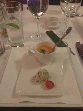 Amuse Bouche of Hot Smoked Salmon Bisque and Black Pudding B - Picture ...