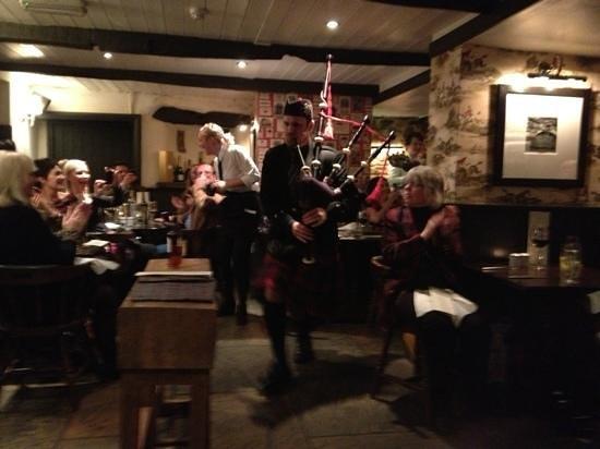 The Fleece Inn:                   the bag piper on burns night!