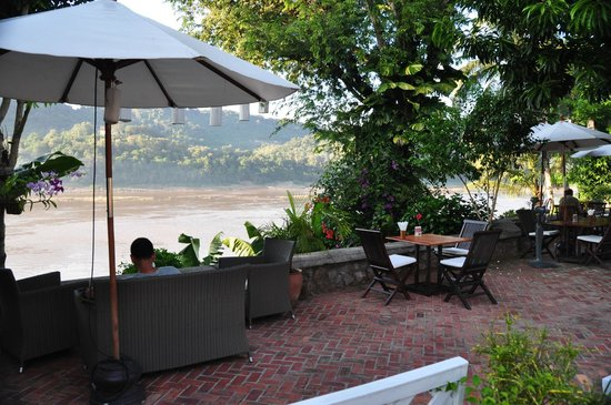 The Belle Rive Boutique Hotel:                   restaurant overlooking the Mekong