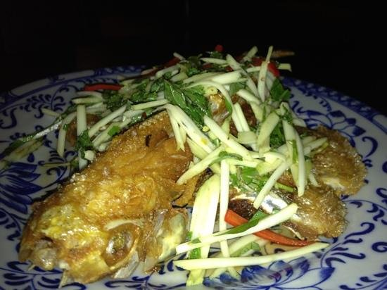 May Restaurant:                   fried fish with green mango