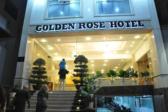 Golden Rose Hotel :                   Front view at night